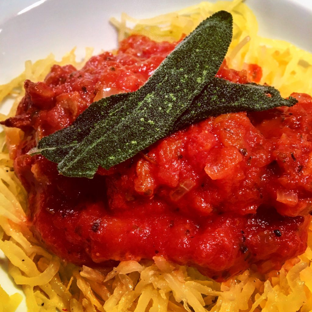 Spaghetti Squash with Bacon Tomato Sauce and Fried Sage