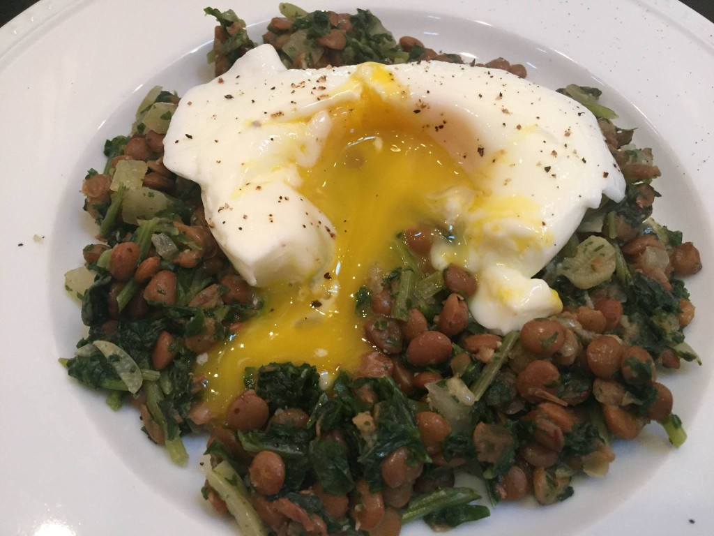 Kale and Lentils with Poached Egg