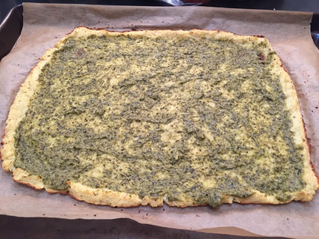Pesto on crust